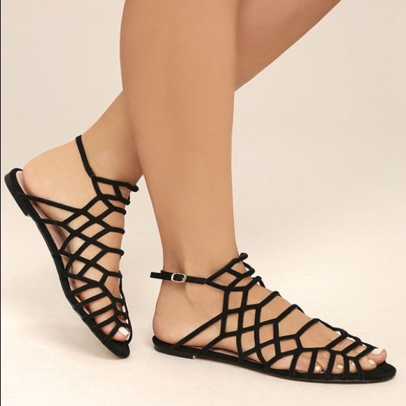 "4ad4cba211056 gyphty Shoes - GYPHTY ""Ansley"" gladiator black suede sandals"